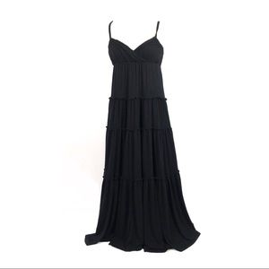 Calvin Klein 2 dress maxi ruffles pleated black